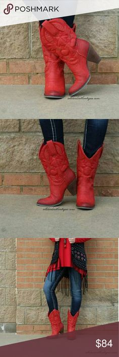 "Very Volatile Dallas Red Very Volatile | Dallas Cowgirl Boots Red  This contemporary Western boot has all the sassy style you need. Burnished synthetic upper with tooled shaft detail. Lightly cushioned foot bed. Flexible rubber-like sole. 3-1/2"" heel height. Very Volatile Shoes Heeled Boots"