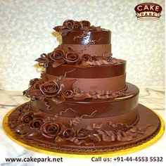 Delicious 4-tier ‪#‎weddingcake‬  Give a pleasant visual treat to your guests with this elegantly designed wedding cake. ‪#‎Weddingcakes‬ ‪#‎Birthdaycakes‬ ‪#‎Themecakes‬ Visit us: http://www.cakepark.net/wedding-cakes.html call us: +91-44-4553 5532