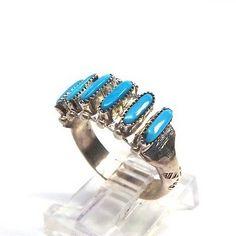 Zuni-Sterling-Silver-Turquoise-Needlepoint-Ring-Paloma-Size-8