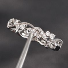 Unique Pave 0.30ct Diamonds 14K White Gold Floral MILGRAIN Wedding Band Engagement Ring