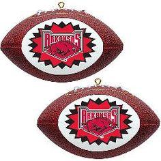 Topperscot Arkansas Razorbacks Two Mini Replica Football Ornaments