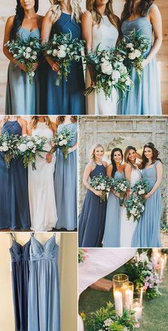 Dusty Blue Bridesmaid Dresses, Dusty Blue Weddings, Wedding Bridesmaids, Bridesmaid Dresses Different Colors, Azazie Bridesmaid Dresses, Powder Blue Weddings, Blue Themed Weddings, Blue Wedding Themes, Tiffany Blue Bridesmaids