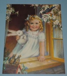 Little Girl with Curly Locks, at an open window, smiling at the Blue Bird, baby birds below the window sill. Vintage Prints, Vintage Art, Spring Hairstyles, Children's Book Illustration, Girl Illustrations, Spring Blossom, Happy Girls, Vintage Children, Vintage Images