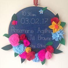Handmade birth embroidery sampler with felt roses! Felt Roses, Embroidery Sampler, Niece And Nephew, Christening, Special Gifts, Little Girls, Birthday Cake, Presents, Handmade