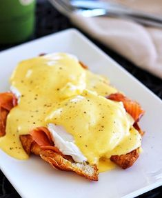 Serve Smoked Salmon Eggs Benedict on a toasted croissant.
