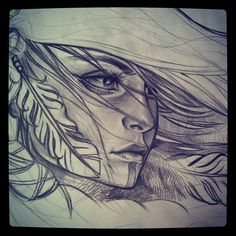 Native Indian Woman Drawing Group of: wind in my hair we heart it