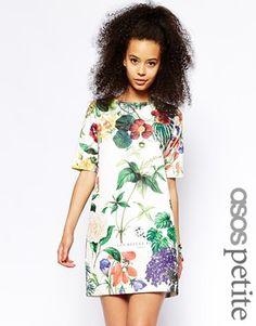 7c291bb15a374 ASOS PETITE - Robe t-shirt texturée à fleurs Mariage, Robes Florales À  Manches