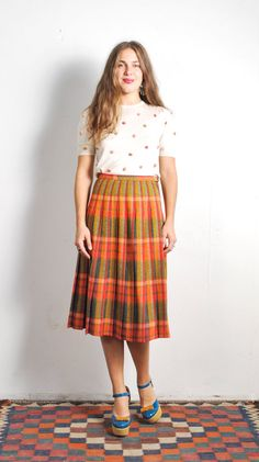 1960s Fall Plaid Turnabout skirt // sz Small by UXCVintage on Etsy
