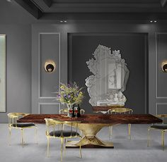 Metamorphosis Dining Table's surface is made in walnut root veneer and includes special textured details that represent a fossil. This piece also embodies high polished brass details to fill the stately base.