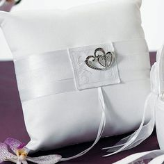 Show your guests the depth of your love with these white classic double heart square ring pillows! With a jeweled double heart design thats framed by a monogram effect embroidered accent, your guests. Ring Bearer Pillows, Ring Pillows, Monogrammed Stationery, Square Rings, White Pillows, Wedding Accessories, Heart Ring, Wedding Ideas, Wedding Stuff