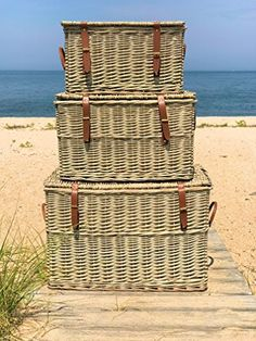 HIDE YOUR STUFF AWAY with relaxed charm and beachy vibes, this set of 3 wicker trunks bring clever and handsome storage within hands reach that is ideal to hide away shoes, toys, blankets, laundry, and more. HANDCRAFTED of high quality willow that is woven and by our expert artisans, Beautifully... more details available at https://furniture.bestselleroutlets.com/accent-furniture/storage-trunks/product-review-for-the-cape-cod-wicker-trunks-set-of-3-faux-leather-straps-and-han