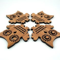 Bamboo Owl Coasters: Laser Cut Wood