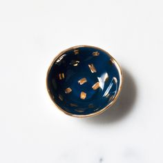 Confetti Mini Bowl in Navy with Gold Brushstroke Confetti – Suite One Studio