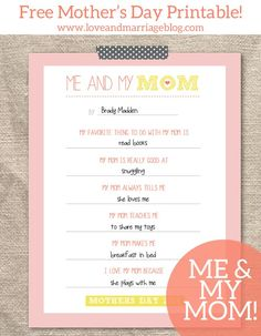 Mother�s Day Free Printable � Me and My Mom Questionnaire