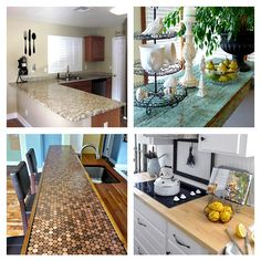 DIY:: 15 Beautiful Budget Countertop Ideas !  (Tutorials for Each) Curated by @deb rouse schwedhelm Depew's