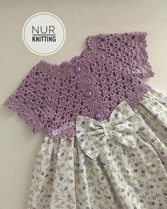 Girls Knitted Dress, Crochet Dress Girl, Baby Girl Crochet, Crochet Baby Clothes, Crochet Cardigan Pattern, Knit Crochet, Frock Patterns, Diy Dress, Baby Sweaters