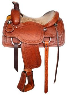or Circle S Roper with alligator print seat. Saddle features fully basketweave tooling with zig zag border trim on fenders, cantle, pommel and skirt. Saddle comes complete with leather off bil Western Horse Tack, Western Riding, Western Saddles, Roping Saddles, Horse Saddles, Leather Tooling, Suede Leather, Tooled Leather, Stirrup Leathers