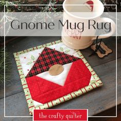 I have a super quick project idea for you – the cutest Gnome Mug Rug ever! The original gnome quilt block tutorial is from Sew Can She. I have a super quick project idea for you – the cutest Gnome Mug Rug ever! The o…Holiday Mug Rug Mug Rug Patterns, Quilt Patterns, Canvas Patterns, Small Quilts, Mini Quilts, Christmas Mug Rugs, Christmas Patchwork, Christmas Placemats, Christmas Gnome