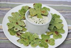 Shamrock chips made from spinach tortillas