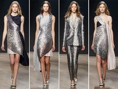 Mary Katranzou at London Fashion Week - Love the metallic fabric and detail