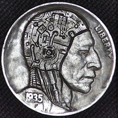 A detailed Android / Cyborg carving done on a 1935 buffalo nickel. This is nickel Hobo Nickel, Coin Art, Effigy, Sculpture Art, Coins, Carving, Jay, Android, Buffalo