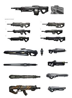 Some Halo 4 gun concepts Sci Fi Weapons, Weapon Concept Art, Fantasy Weapons, Weapons Guns, Survival, Future Weapons, Future Soldier, Video Game Art, War Machine