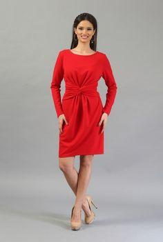 Rochie midi rosie R048 -M -  Ama Fashion
