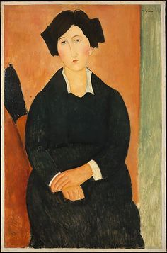 The Italian Woman / Amedeo Modigliani / 1917 / oil on canvas / at the Met / love her expression...