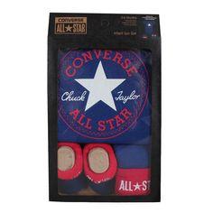 Converse Baby 3-er Geschenk-Set Body Mütze Söckchen blau
