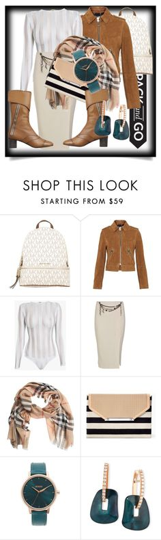 """pack and go"" by ririrara ❤ liked on Polyvore featuring MICHAEL Michael Kors, Whistles, Balmain, Moschino Cheap & Chic, Burberry, Stella & Dot, Nixon and Mattioli"