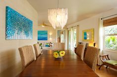 Colors, table and light    Dining Room - tropical - dining room - los angeles - Natalie Younger Interior Design, Allied ASID