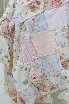Shabby chic rag quilt, floral bedding, vintage rose, lace bedding, patchwork quilt