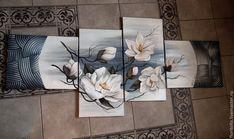 Купить или заказать Объемная фреска 'Белые цветы' в интернет-магазине на Ярмарке Мастеров. Объемная фреска 'Белые цветы'. Выполнена на холсте в авторской технике с использованием структурных паст.