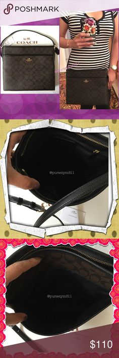 """Authentic Coach Logo Handbag 💯 AUTHENTIC. Beautiful and classic logo handbag from Coach! Colòrs: Brown & Black  Lightweight & very spacious! Approximate measurements: Length 11 1/2"""" Height 10 1/2"""" Width 2"""" w/ adjustable long strap. Exterior front compartment and 3 inside interior pockets. Yellow gold tone hardware. New w/ tag! PRICE IS FIRM. Coach Bags Crossbody Bags"""