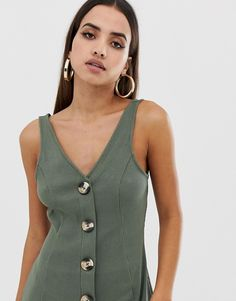 Find the best selection of ASOS DESIGN button through rib mini dress. Shop today with free delivery and returns (Ts&Cs apply) with ASOS! Fashion Online, Fitness Models, Asos, Fashion Dresses, Tank Tops, Mini, Womens Fashion, Shopping, Button