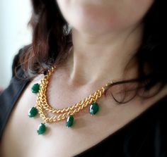 Emerald Green Necklace Gold Statement Necklace Green by michabella, $55.00