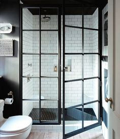 bathroom black paned shower - Google Search