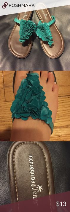 Teal Sandals Teal Textured Sandals. Brown Bottom. Comfortable. Montego bay club Shoes Sandals