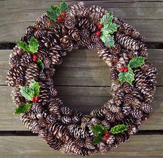 Handmade Small Pinecone and Holly Wreath | SooBoo - Housewares on ArtFire