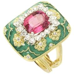 Stambolian Enamel Bubble Gum Pink Tourmaline Diamond Gold Ring ($6,900) ❤ liked on Polyvore featuring jewelry, rings, pink, gold enamel ring, heart ring, yellow gold heart ring, heart shaped rings and pink tourmaline ring