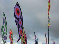 Flags at Glastonbury Music Festival