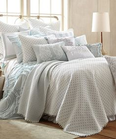 Levtex Home White & Silver Diamond Pom Quilt Set | zulily
