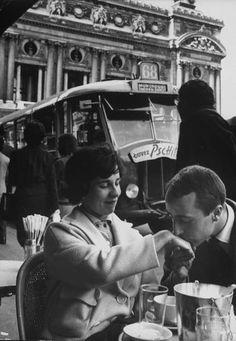 #lulufrost #letsbringback  Man kissing woman's hand at the Cafe de la Place de l'Opera. Photograph by Loomis Dean. Paris, 1961  #pintowinGifts @Gifts.com