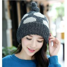 bbfb4f5b97a Womens Knot Top beanie hat lined fleece Flanging dot knit hats for winter