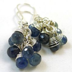 I covet these. Blue Sapphire and Sterling Earrings by ShazzabethCreations on Etsy, $140.00