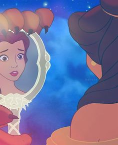 I love this cause its like she's like she's looking at her self for the first time. Belle comes from a really poor father and never ever gotten to be a princess. The beast gave that to her