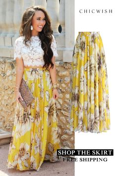 Marvelous Floral Maxi Skirt in Yellow Party Skirt, Party Dress, Church Outfits, Mode Inspiration, Mode Style, African Dress, Look Fashion, Feminine Fashion, African Fashion
