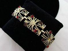 CORO Vintage 1950s Rhinestone Jeweled Purple Red Gold Plate Bracelet