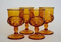 Amber Goblets, King's Crown, Color Crown Dark Amber Goblets by Colony, Vintage, Amber Drinkware, Amber Glassware, Amber Barware, Amber Glass