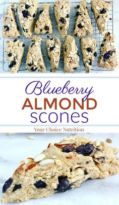 These whole wheat Blueberry Almond Scones are filled with sweet blueberries and crunchy almonds. They make a perfect addition to brunch or dessert!   recipe via www.yourchoicenutrition.com  #yourchoicenutrition #food #recipe #healthyeating #healthylifestyle #dietitian #dietitianapproved #healthyrecipe #mindfuleating #intuitiveeating #breakfast #brunch #blueberry #almond #scone #quickbread #wholewheat #pastry